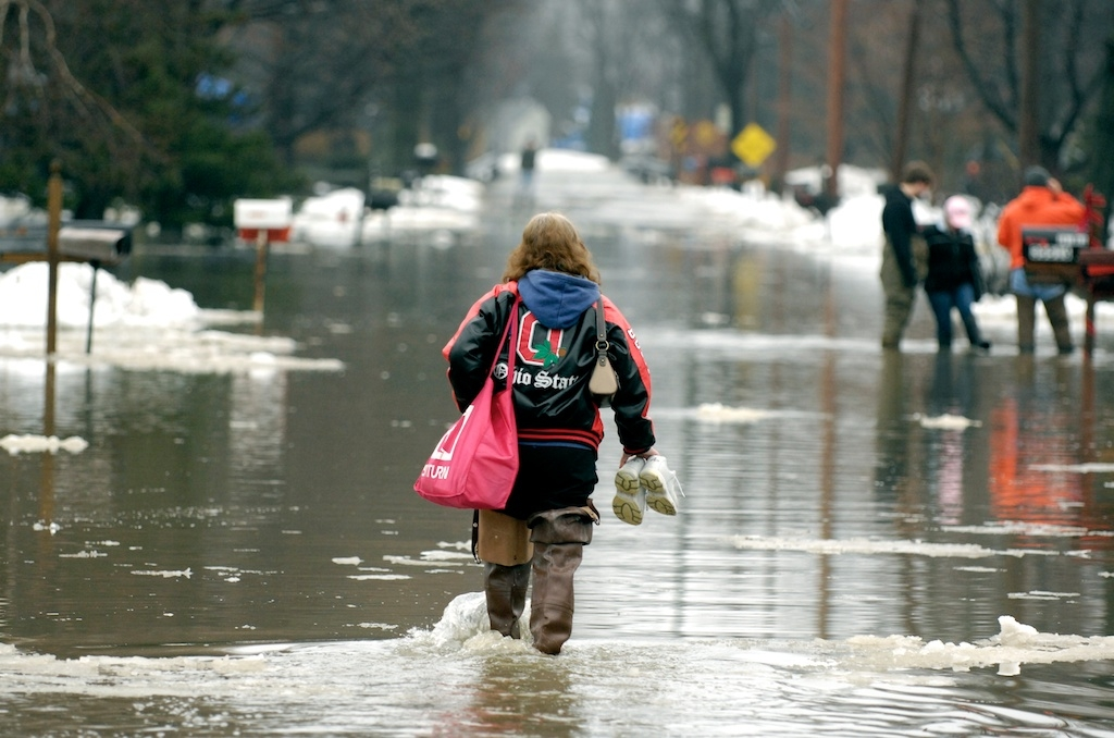 Wading through flooded streets in Eastlake