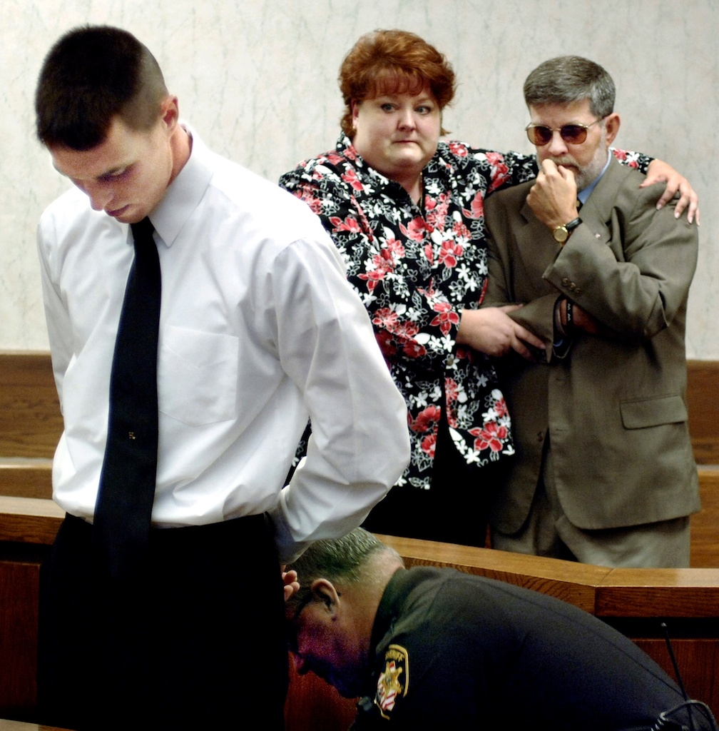 A young man is sentenced to three years as his father and aunt look on
